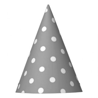 Grey gray polka dot modern glamour neutral party hat