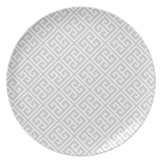 Grey Greek Key Pattern Plate