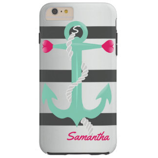 Grey & green| Anchor and hearts Tough iPhone 6 Plus Case