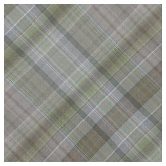 Grey green and brown plaid fabric