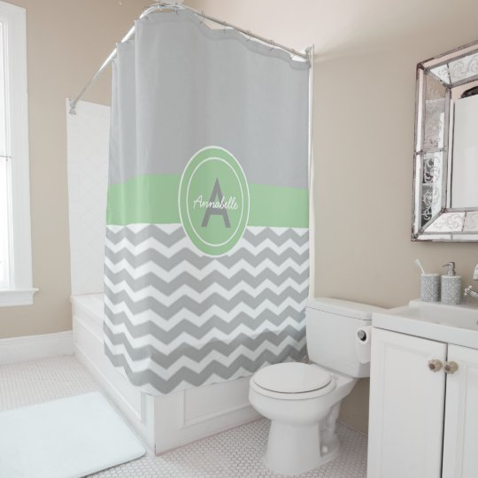 Grey Green Chevron