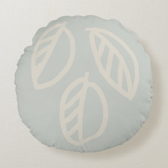 Grey Green Leaf Round Pillow