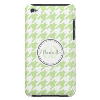 Grey Green Mint Houndstooth Monogram Pattern iPod Touch Cases