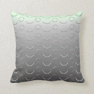 Grey Green Ombre and Partial Circles Throw Pillow