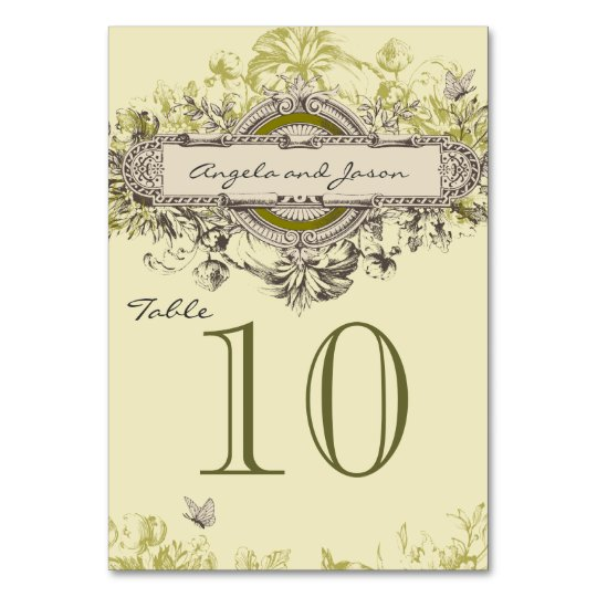 Grey Green Vintage Wedding Table Number Card