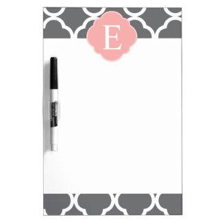 Grey Grey Peach Quatrefoil Monogram Dry Erase White Board