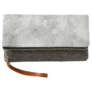 Grey Grunge Fold-Over Clutch