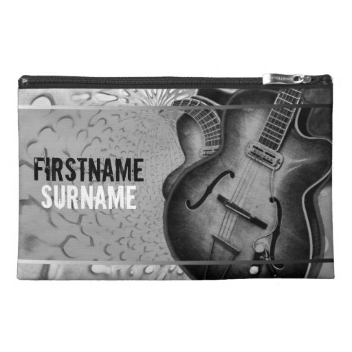 Grey Guitar Music Personalized Travel Accessory Ba Travel Accessory Bag