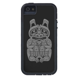 Grey Haida Spirit Bear on Black iPhone 5 Case