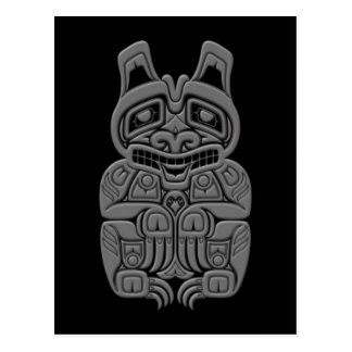 Grey Haida Spirit Bear on Black Postcard