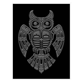 Grey Haida Spirit Owl on Black Postcard