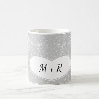 Grey Heart Arrow Love Wedding Anniversary Monogram Coffee Mug