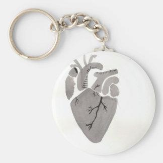 Grey Heart Basic Round Button Keychain
