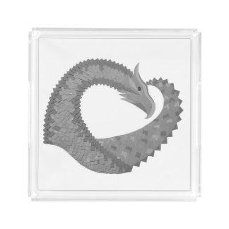 Grey heart dragon on white acrylic tray