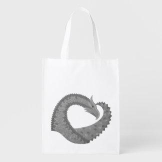 Grey heart dragon on white reusable grocery bag