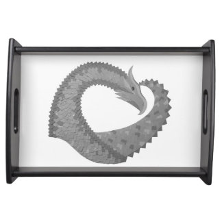 Grey heart dragon on white serving tray