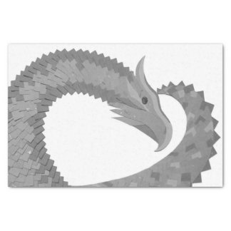 Grey heart dragon on white tissue paper