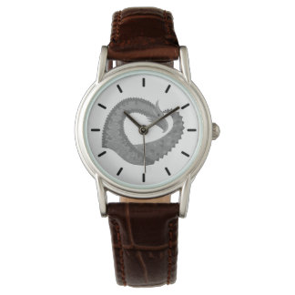 Grey heart dragon on white watch