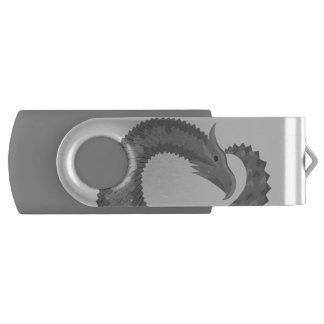 Grey heart dragon USB flash drive