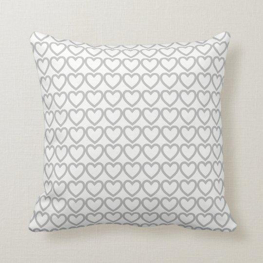 Grey heart on white pattern, love throw pillow