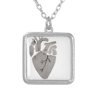 Grey Heart Silver Plated Necklace