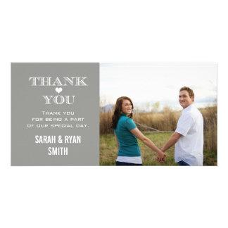 Grey Heart Wedding Photo Thank You Cards Custom Photo Card
