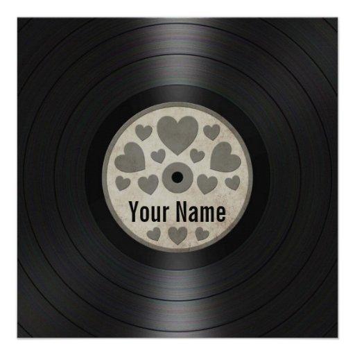 Grey Hearts Personalized Vinyl Record Album Custom Announcement