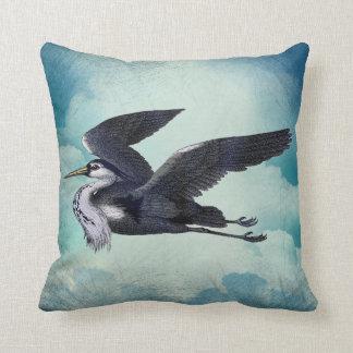 Grey Heron Against A Blue Sky Throw Pillow