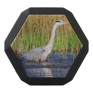 Grey heron, ardea cinerea, in a pond black bluetooth speaker