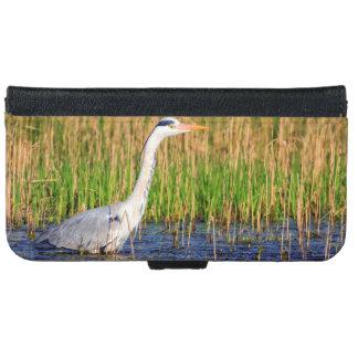 Grey heron, ardea cinerea, in a pond iPhone 6 wallet case