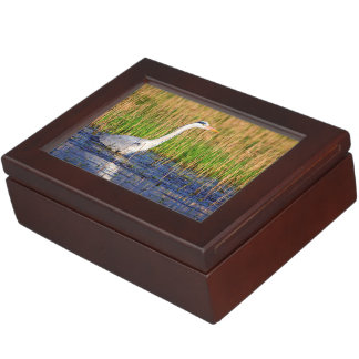 Grey heron, ardea cinerea, in a pond keepsake box