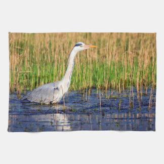 Grey heron, ardea cinerea, in a pond kitchen towel