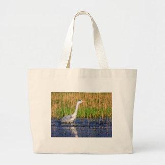 Grey heron, ardea cinerea, in a pond large tote bag