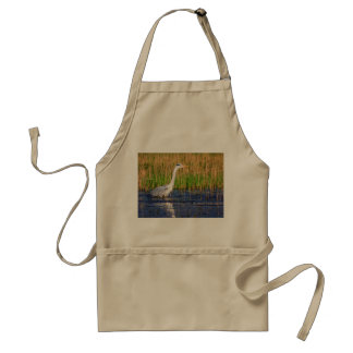 Grey heron, ardea cinerea, in a pond standard apron