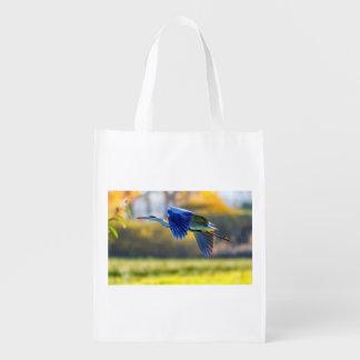 Grey heron, ardea cinerea reusable grocery bag