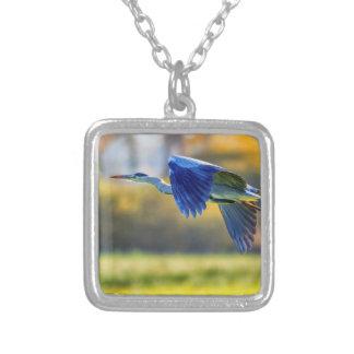 Grey heron, ardea cinerea silver plated necklace