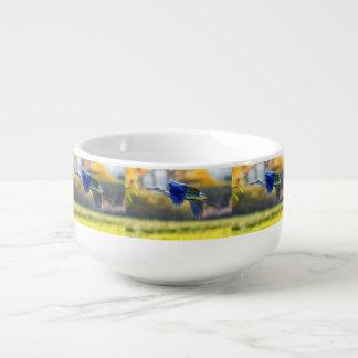 Grey heron, ardea cinerea soup mug