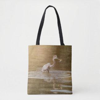 Grey Heron Gone Fishin' Tote Bag