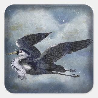 Grey Heron wildlife Square Sticker