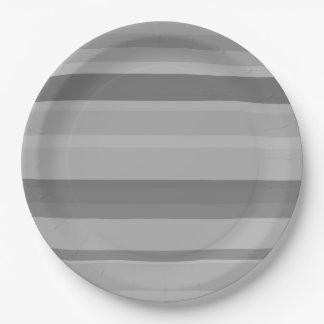Grey horizontal stripes 9 inch paper plate