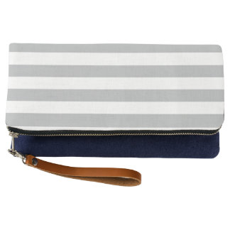 Grey Horizontal Stripes Clutch