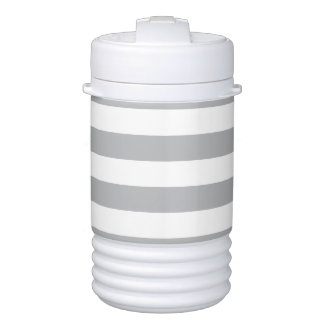 Grey Horizontal Stripes Drinks Cooler