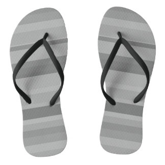 Grey horizontal stripes flip flops