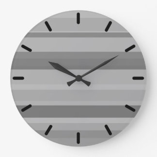Grey horizontal stripes large clock