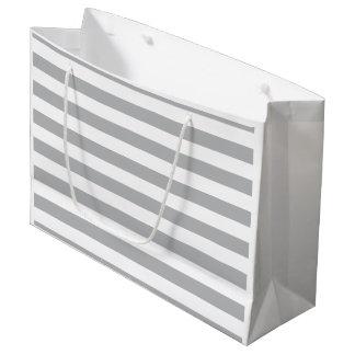 Grey Horizontal Stripes Large Gift Bag
