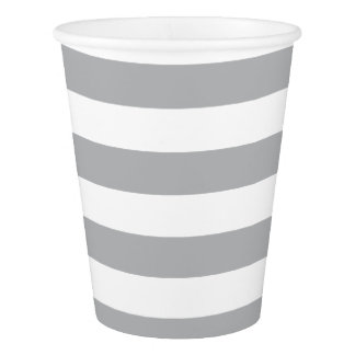 Grey Horizontal Stripes Paper Cup