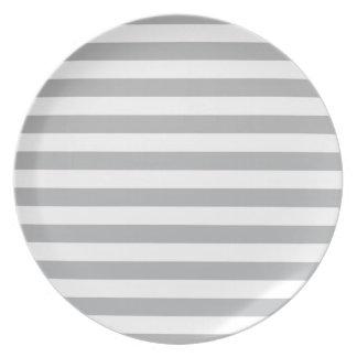 Grey Horizontal Stripes Plates