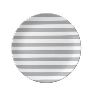 Grey Horizontal Stripes Porcelain Plates