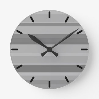 Grey horizontal stripes round clock