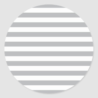 Grey Horizontal Stripes Round Sticker